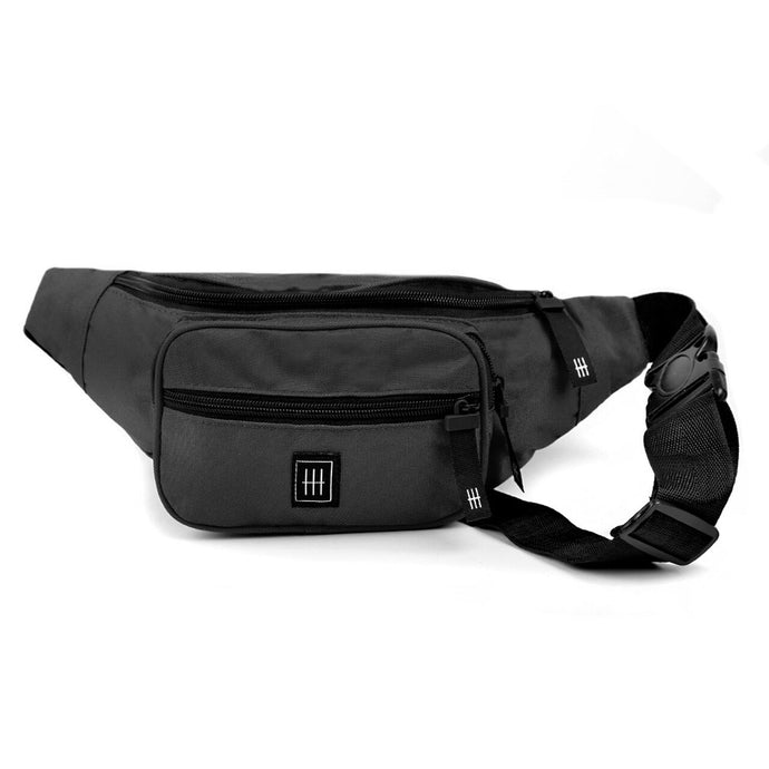 Black multi compartment fanny pack