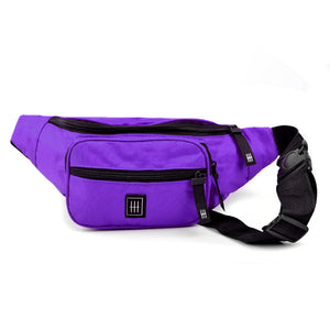Purple multi compartment fanny pack