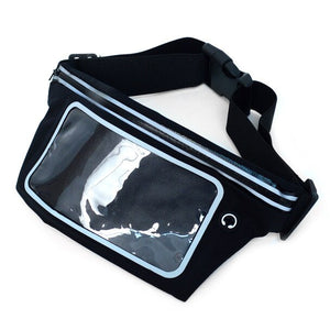 Black fanny pack with clear window