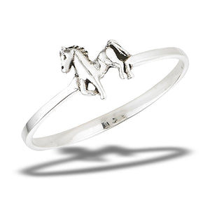 thin band sterling silver horse ring