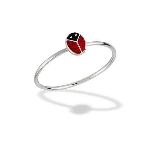 Sterling silver ring with red and black enamel ladybug