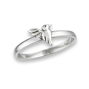 thin band sterling silver hummingbird ring