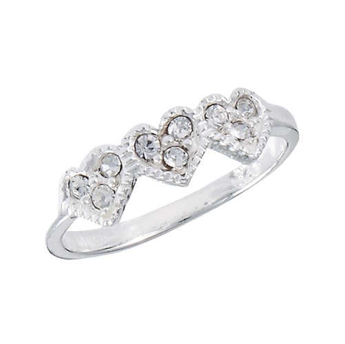 thin band sterling silver ring with 3 white crystal hearts