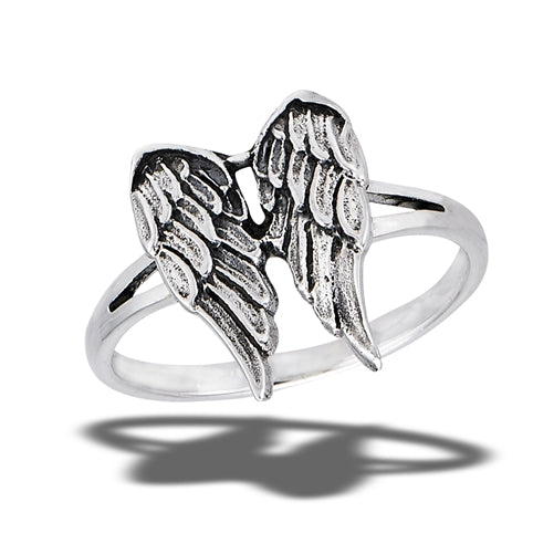 sterling silver ring with angel wings