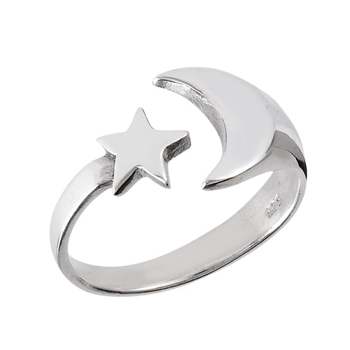 sterling silver ring with moon and star