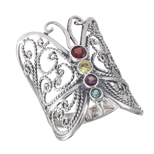 sterling silver colorful cubic zirconia butterfly ring