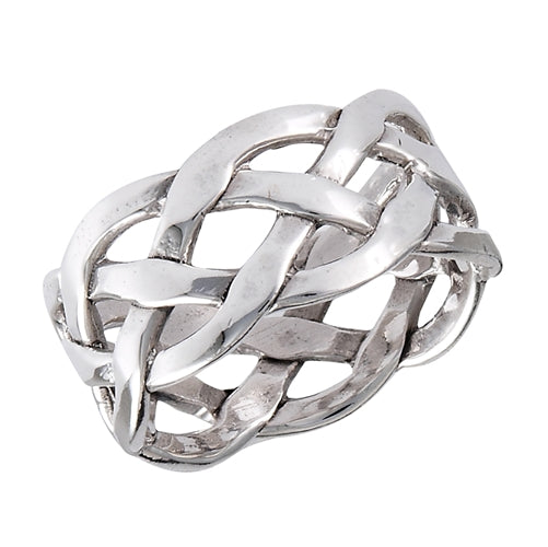 sterling silver celtic weave band ring