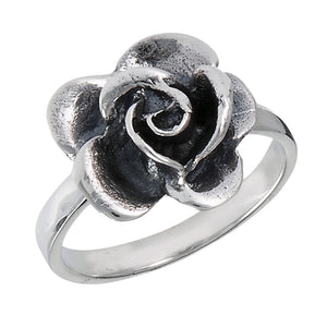 sterling sliver ring with flower on band