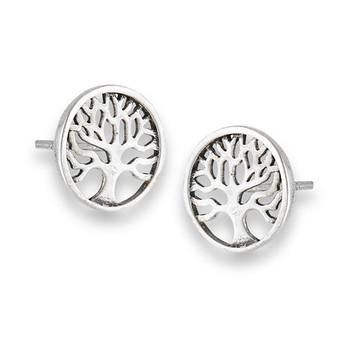 sterling sliver tree stud earrings