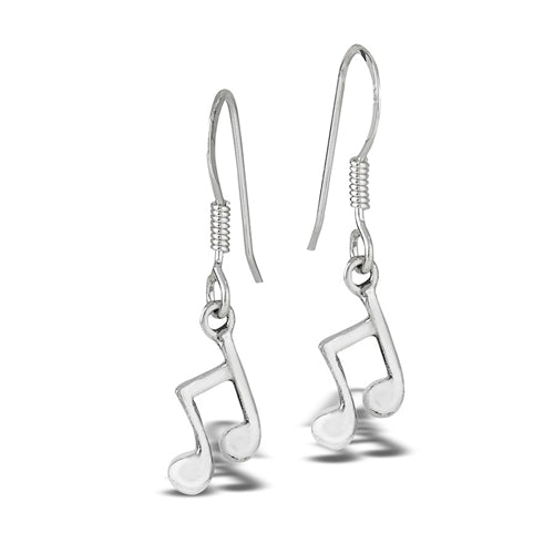 sterling silver music note dangle earrings