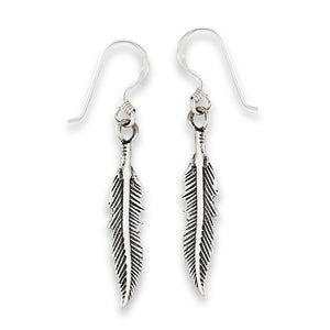 sterling silver feather dangle earrings