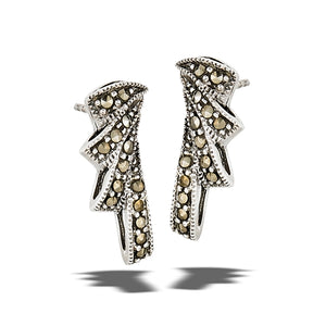 sterling silver flare post earrings with marcasite stones