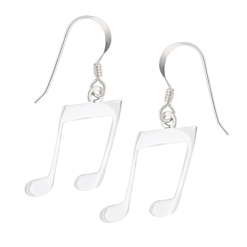 sterling sliver music note dangle earrings