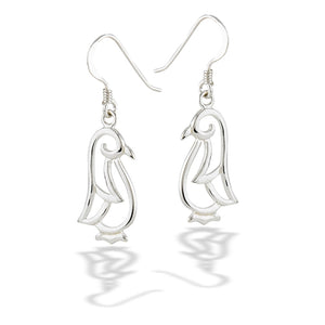 sterling silver penguin dangle earrings