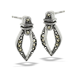sterling silver hinged earrings with marcasite stones