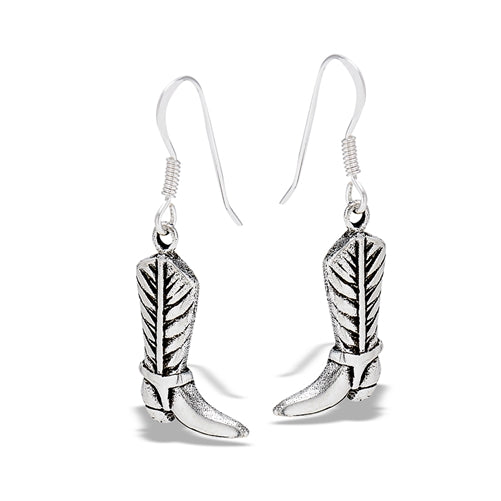 sterling silver cowboy boot dangle earrings