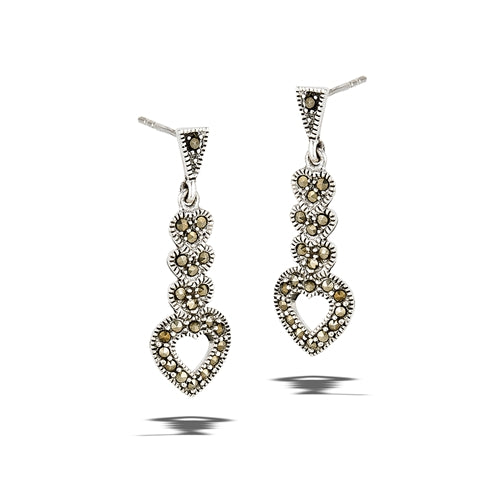 sterling silver heart shaped dangle earrings with marcasite stones