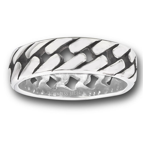 Stainless steel ring with link design band