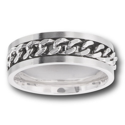 stainless steel ring with chain around band