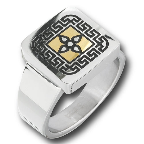 stainless steel ring with golden celtic design