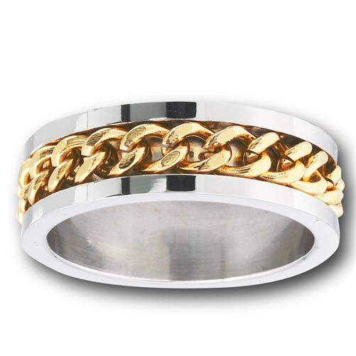 Stainless steel ring with golden chain in the middle of ring