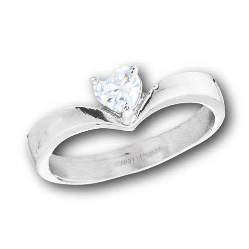 Stainless steel heart cubic zirconia ring