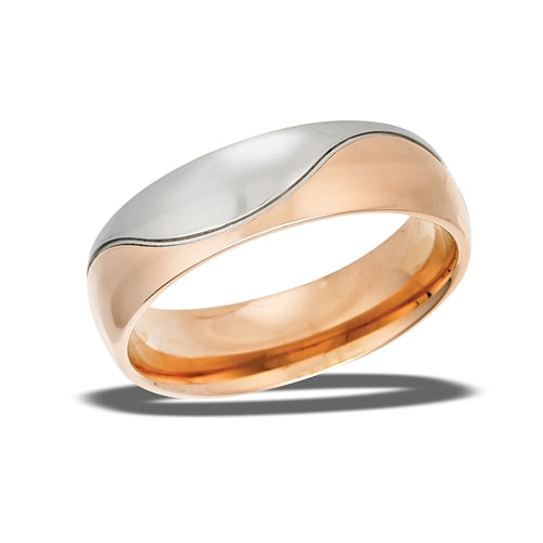 highly polished wave ring with gold and silver coloring