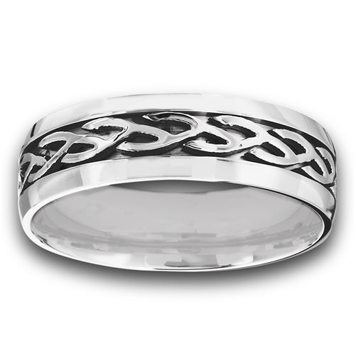 stainless steel ring with celtic design on band