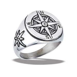stainless steel ring with compass on band