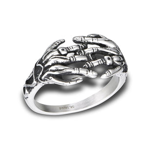 stainless steel skeleton hands ring