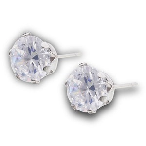 stainless steel cubic zirconia stud earrings