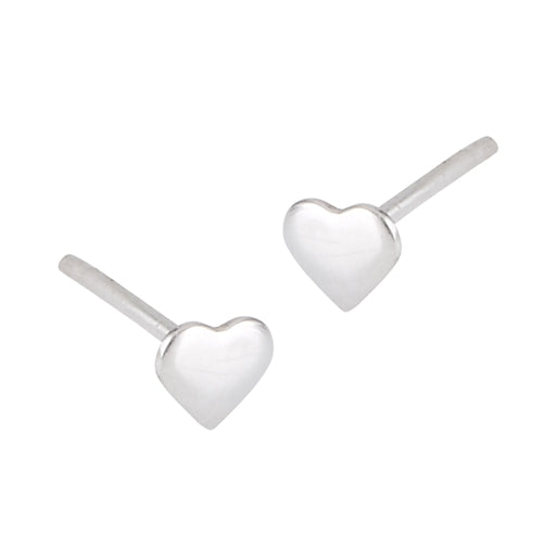 Sterling silver polished heart stud earrings