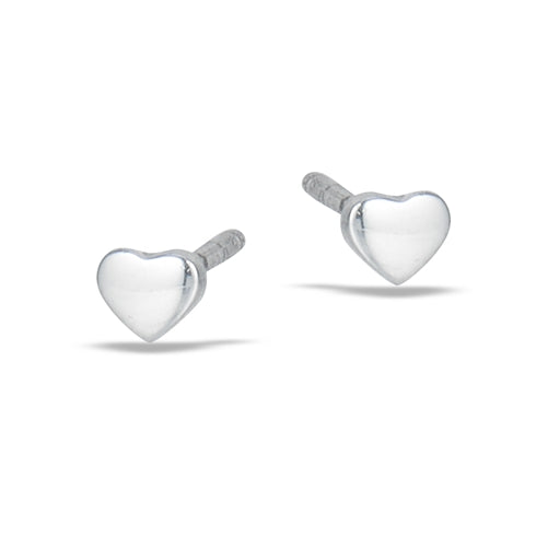 Sterling silver polished small heart stud earrings