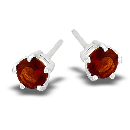 Sterling sliver red gem stud earrings