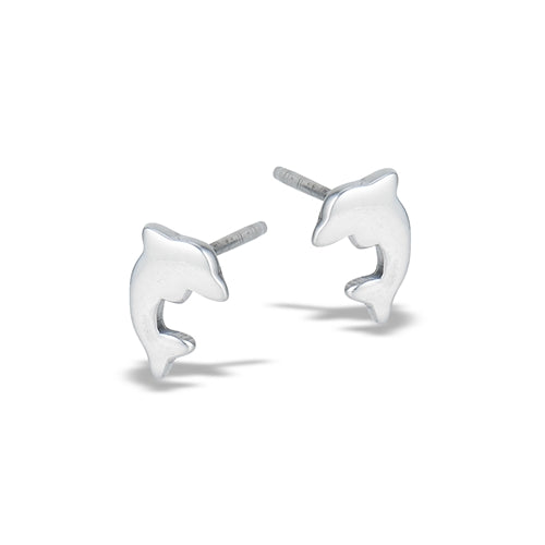 Sterling silver polished dolphin stud earrings