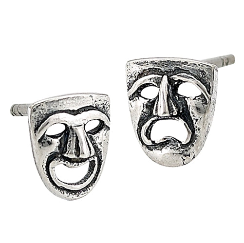 Sterling silver theater faces stud earring