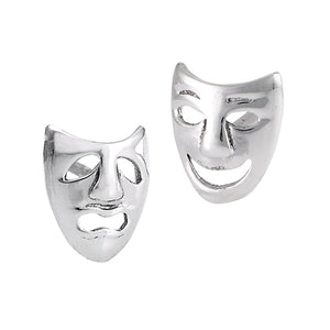 Sterling silver tragedy comedy stud earrings