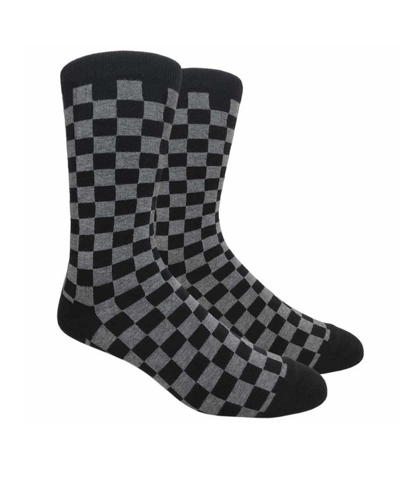 dark grey and black checkered socks
