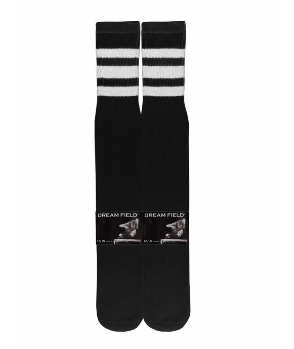 long black tube socks with 3 white stripes