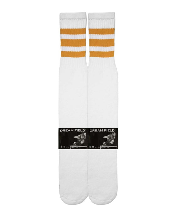 long white tube socks with 3 gold stripes