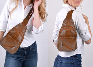example of ways to wear brown faux leather sling bag