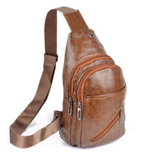 Load image into Gallery viewer, brown faux leather sling bag with 3 zipper compartments