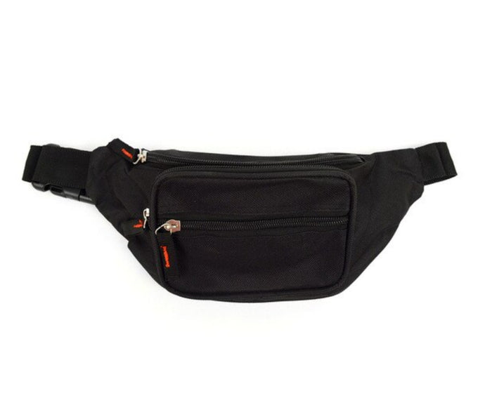 black fanny pack with 3 zippers with red accents