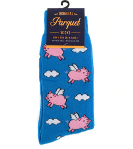 blue socks with cartoon flying pigs