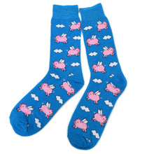 Load image into Gallery viewer, blue socks with cartoon flying pigs