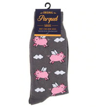 Load image into Gallery viewer, gray socks with cartoon flying pigs