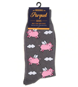 gray socks with cartoon flying pigs