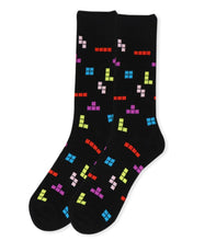 Load image into Gallery viewer, black socks with tetris game pieces