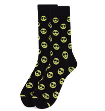 Load image into Gallery viewer, black socks with smiley face wearing sunglasses