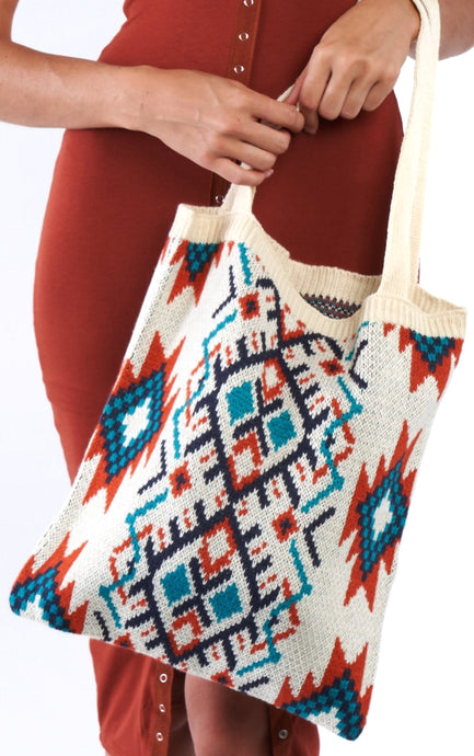 Ivory tribal pattern tote bag